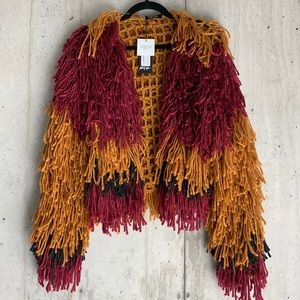 Shaggy Tri Color Cardigan Sweater